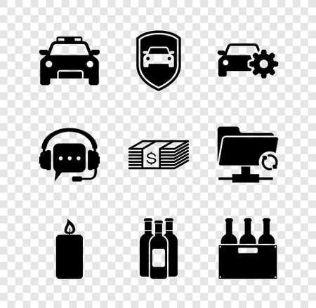 Set Police car and flasher, Car protection or insurance, service, Burning candle, Bottles of wine and box icon. Vector
