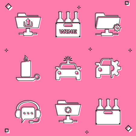 Set FTP folder upload, Bottles of wine in box, settings, Burning candle candlestick, Police car flasher and Car service icon. Vector