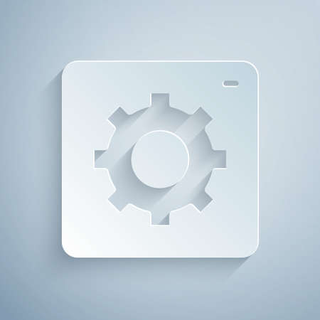 Paper cut Setting icon isolated on grey background. Tools, service, cog, gear, cogwheel sign. Paper art style. Vector