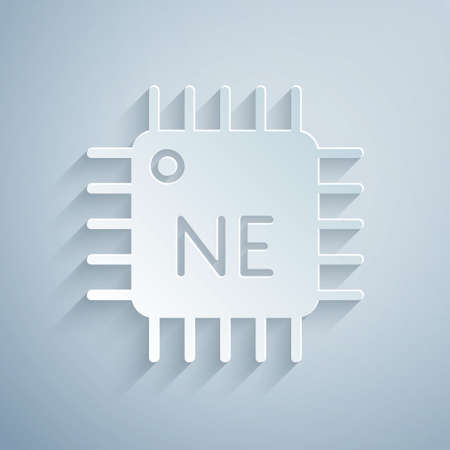 Paper cut Computer processor with microcircuits CPU icon isolated on grey background. Chip or cpu with circuit board. Micro processor. Paper art style. Vector Vettoriali