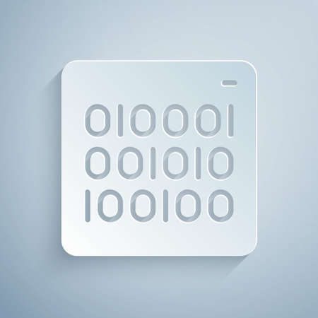 Paper cut Binary code icon isolated on grey background. Paper art style. Vector Vettoriali