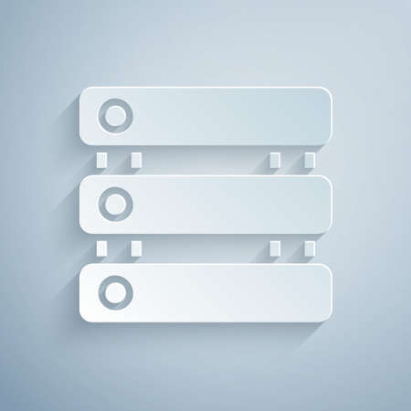 Paper cut Server, Data, Web Hosting icon isolated on grey background. Paper art style. Vector
