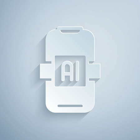 Paper cut Artificial intelligence AI icon isolated on grey background. Machine learning, cloud computing, automated support assistance and networks. Paper art style. Vector Vettoriali