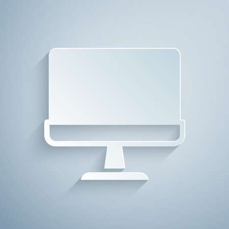Paper cut Computer monitor screen icon isolated on grey background. Electronic device. Front view. Paper art style. Vector Vettoriali