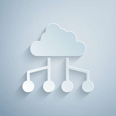 Paper cut Network cloud connection icon isolated on grey background. Social technology. Cloud computing concept. Paper art style. Vector