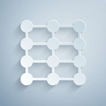 Paper cut Neural network icon isolated on grey background. Artificial intelligence AI. Paper art style. Vector Vettoriali