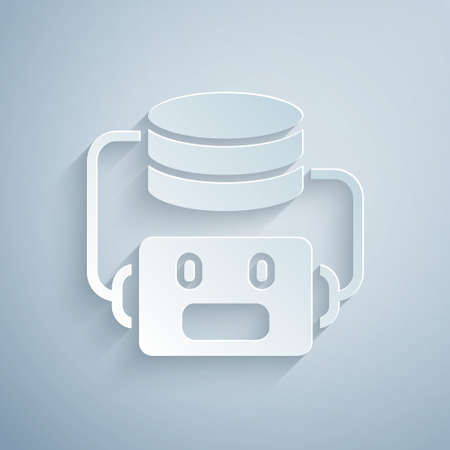 Paper cut Artificial intelligence robot icon isolated on grey background. Machine learning, cloud computing. Paper art style. Vector