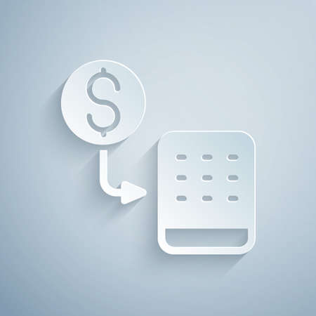 Paper cut Casino chips exchange on stacks of dollars icon isolated on grey background. Paper art style. Vector Vettoriali