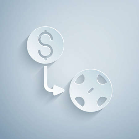 Paper cut Casino chips exchange on dollar icon isolated on grey background. Paper art style. Vector Vettoriali