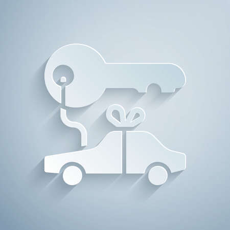 Paper cut Car gift icon isolated on grey background. Car key prize. Paper art style. Vector