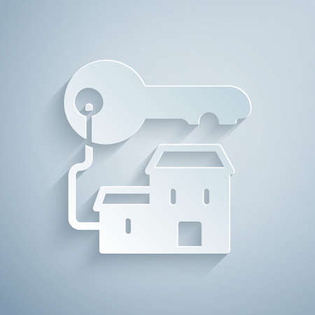 Paper cut Winning house with key icon isolated on grey background. Paper art style. Vector
