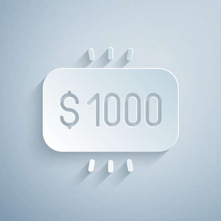 Paper cut Money prize in casino icon isolated on grey background. Paper art style. Vector