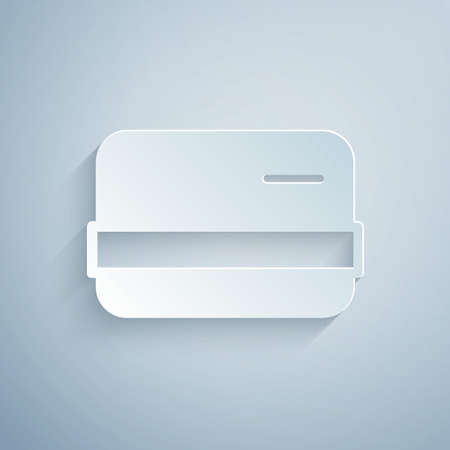 Paper cut Credit card icon isolated on grey background. Online payment. Cash withdrawal. Financial operations. Shopping sign. Paper art style. Vector Vettoriali
