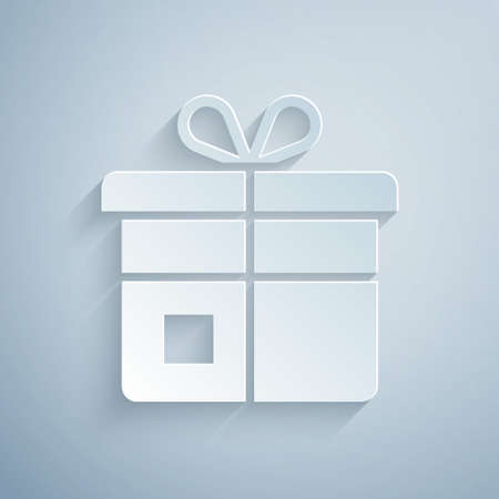 Paper cut Gift box icon isolated on grey background. Paper art style. Vector Vettoriali