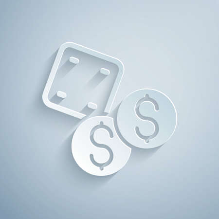 Paper cut Game dice icon isolated on grey background. Casino gambling. Paper art style. Vector Vettoriali