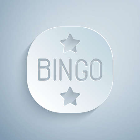 Paper cut Bingo icon isolated on grey background. Lottery tickets for american bingo game. Paper art style. Vector Vettoriali