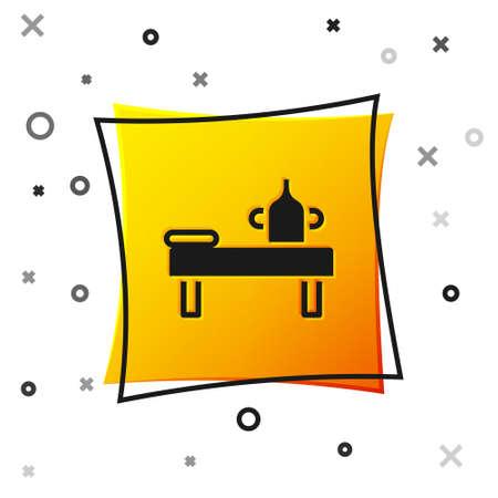 Black Massage table with oil icon isolated on white background. Yellow square button. Vector Vektoros illusztráció