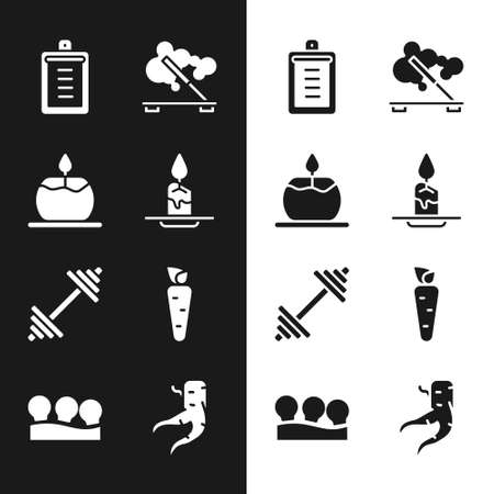 Set Aroma candle, Clipboard with checklist, Scented spa stick, Dumbbell, Carrot, Ginger root and Vacuum cans icon. Vector