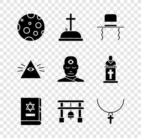 Set Moon, Tombstone with cross, Orthodox jewish hat sidelocks, Jewish torah book, Japan Gate, Christian chain, Masons and Man third eye icon. Vector