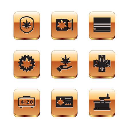 Set Shield and marijuana leaf, Digital alarm clock, Calendar, Marijuana or cannabis, Rolling paper, Manual grinder and store icon. Vector