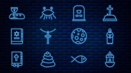 Set line Ramadan Kareem lantern, Monk, Tombstone with RIP written, Christian cross chain, Jewish torah book, First communion symbols, Moon and Pastafarianism icon. Vector
