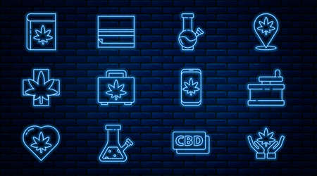 Set line Marijuana or cannabis leaf, Manual grinder, Glass bong for smoking marijuana, Shopping box of, Medical, Book and, Mobile and Rolling paper icon. Vector