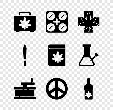 Set Shopping box of marijuana, Medical pills with, or cannabis leaf, Manual grinder, Peace, Marijuana olive oil, joint and Book and icon. Vector Vecteurs