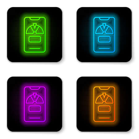 Glowing neon line Lucky wheel on phone icon isolated on white background. Black square button. Vector 일러스트