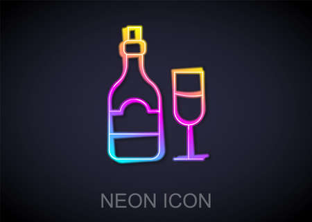 Glowing neon line Champagne bottle with glass icon isolated on black background. Vector