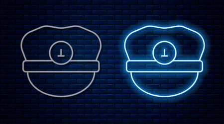 Glowing neon line Captain hat icon isolated on brick wall background. Vector
