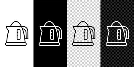 Set line Electric kettle icon isolated on black and white, transparent background. Teapot icon. Vector