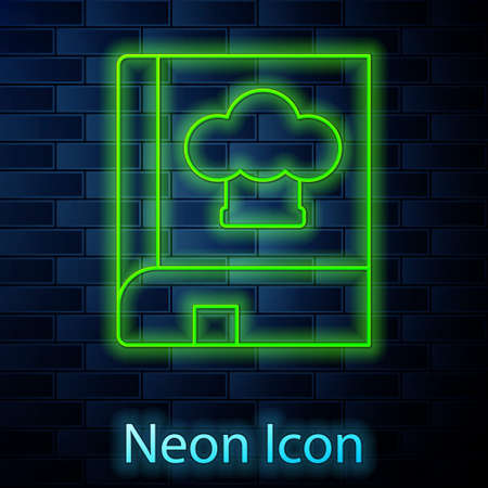 Glowing neon line Cookbook icon isolated on brick wall background. Cooking book icon. Recipe book. Fork and knife icons. Cutlery symbol. Vector