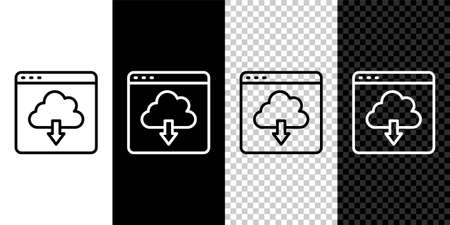 Set line Cloud download icon isolated on black and white, transparent background. Vector 일러스트