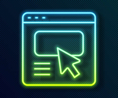 Glowing neon line UI or UX design icon isolated on black background. Vector 일러스트