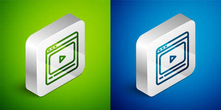 Isometric line Online play video icon isolated on green and blue background. Film strip with play sign. Silver square button. Vector