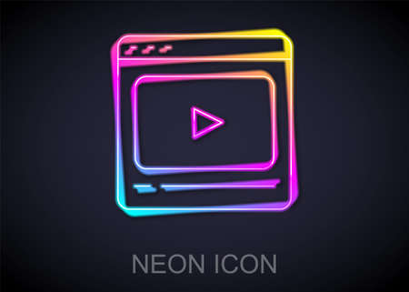 Glowing neon line Online play video icon isolated on black background. Film strip with play sign. Vector