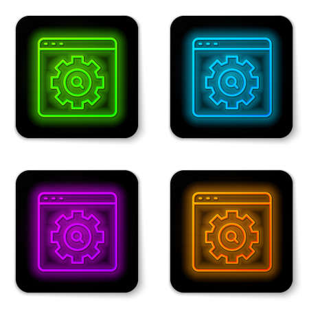 Glowing neon line Browser setting icon isolated on white background. Adjusting, service, maintenance, repair, fixing. Black square button. Vector