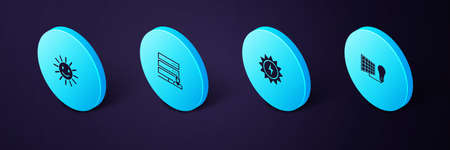 Set Isometric Solar energy panel and light bulb, , Customer care server and Cute sun with smile icon. Vector 일러스트