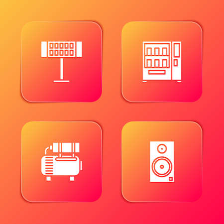 Set Electric heater, Vending machine, Air compressor and Stereo speaker icon. Vector