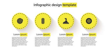 Set Car brake disk with caliper, tire, Gear shifter and . Business infographic template. Vector