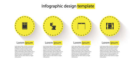 Set Furniture nightstand, Toilet bowl, Wooden table and Window with curtains. Business infographic template. Vector 일러스트