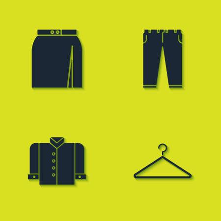 Set Skirt, Hanger wardrobe, T-shirt and Pants icon. Vector