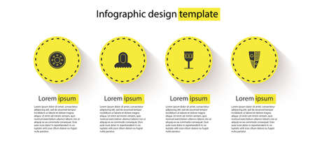 Set Round wooden shield, Medieval hood, goblet and Shield. Business infographic template. Vector 일러스트
