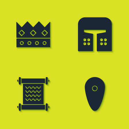 Set King crown, Shield, Decree, parchment, scroll and Medieval iron helmet icon. Vector