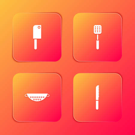 Set Meat chopper, Spatula, Kitchen colander and Bread knife icon. Vector 일러스트