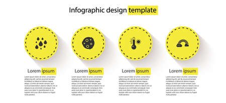 Set Water drop, Moon, Meteorology thermometer and Rainbow with clouds. Business infographic template. Vector 일러스트