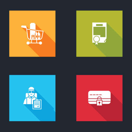 Set Shopping cart and food, Certificate template, Delivery man with cardboard boxes and Credit lock icon. Vector 일러스트
