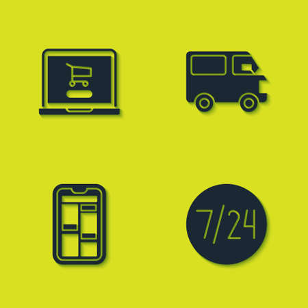 Set Shopping cart on laptop, Clock 24 hours, Online shopping phone and Delivery cargo truck vehicle icon. Vector