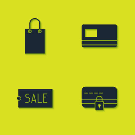 Set Paper shopping bag, Credit card with lock, Price tag text Sale and icon. Vector 일러스트