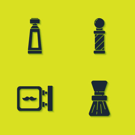Set Cream or lotion cosmetic tube, Shaving brush, Barbershop and Classic pole icon. Vector